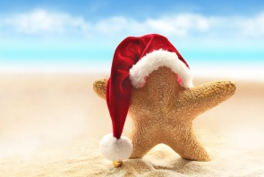 Summer beach. Christmas.